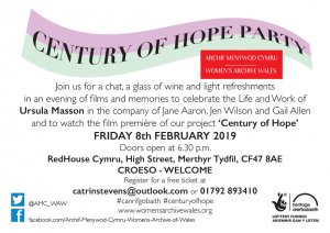 Image: February 8th 2019:  the Century of Hope Party and Finale at the Redhouse, Merthyr Tydfil